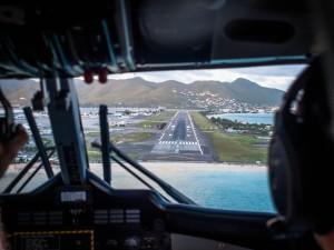 landing in st. maarten sxm cockpit view winair
