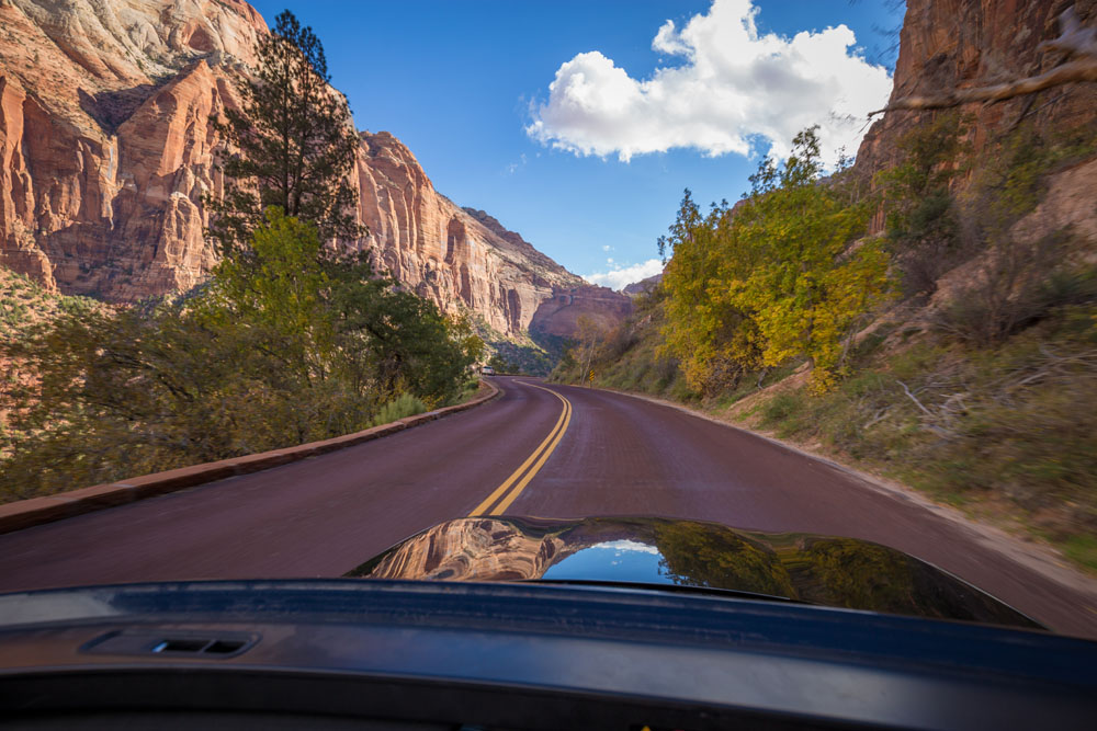 driving through zion np