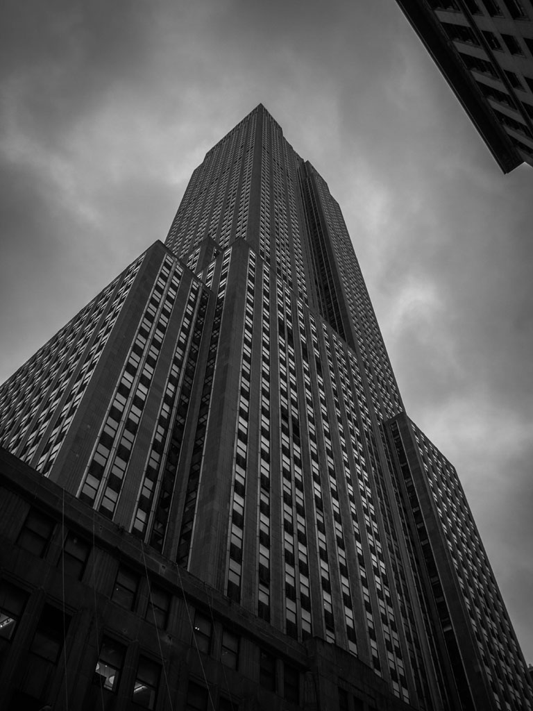empire state building black and white photo