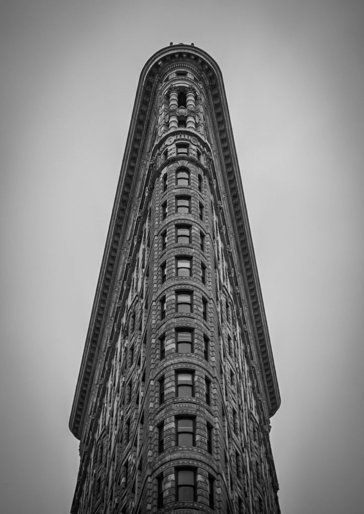 flatiron building in black and white photograph