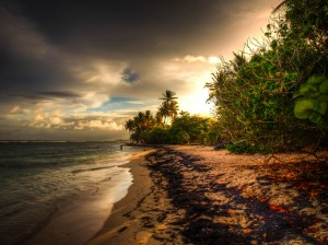 hdr guadeloupe photo of the beach sunset