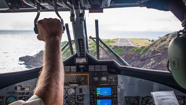 Landing at Juancho Yrausquin Airport