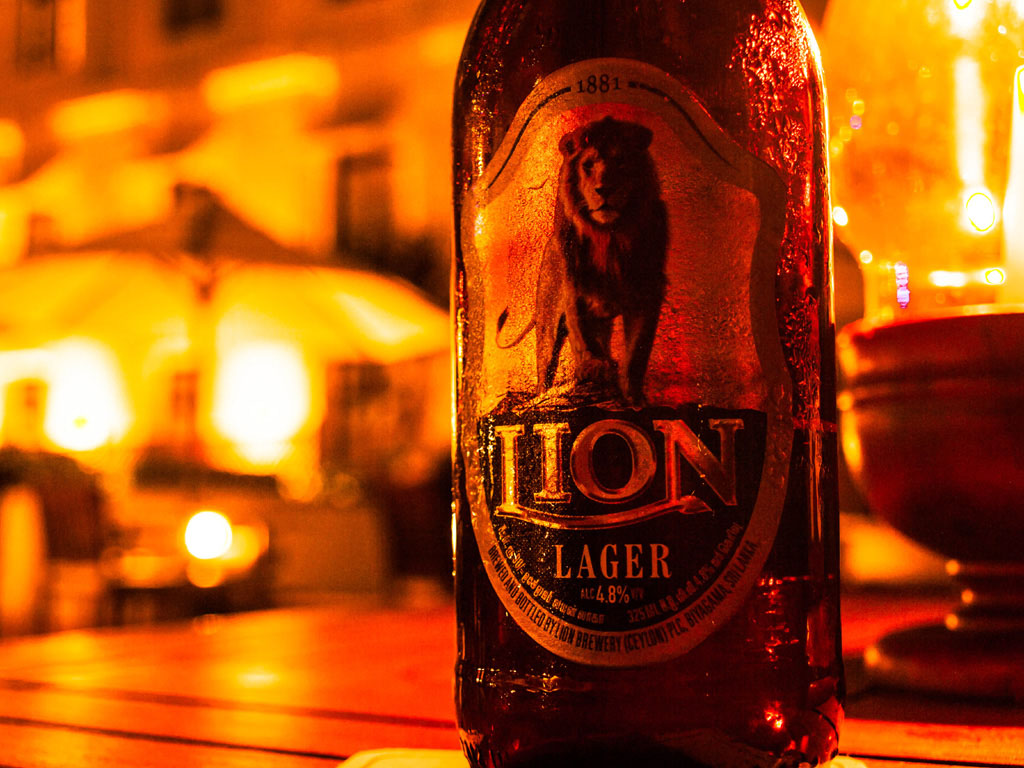 lion lager beer bottle in colombo bar