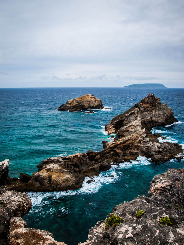 pointe des chateux in guadeloupe coast